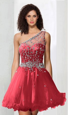 Chic adorable beaded one shoulder short tulle sparkle cocktail prom homecoming party Dress Gown