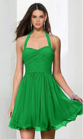 Flawless halter ruched short chiffon Dress Gown short prom homecoming Dress Gown