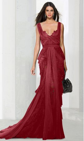 Chic glamorous illusion fit and flare lace Dress Gown Red Carpet formal evening Dress Gown