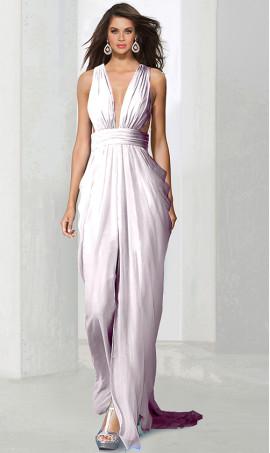 elegant plunging v neck chiffon Dress Gown