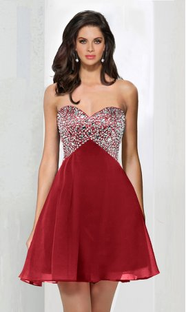 Chic baby doll sweetheart rhinestones sequins embellished corset style short chiffon Dress Gown