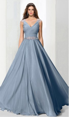 Chic dreamy beaded straps ruched bodice a line chiffon bridesmaid prom formal evening Dress Gown
