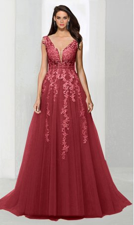 Chic captivating beaded lace applique low v neck a line tulle ball Dress Gown prom formal evening Dress Gown