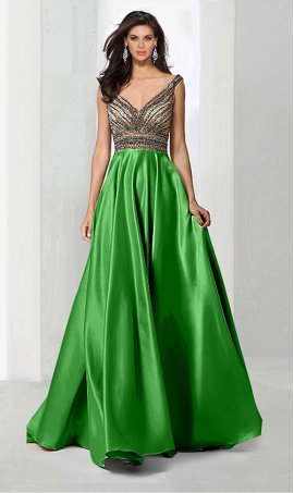 Chic elaborate fully beaded deep v neck floor length a line satin ball Dress Gown prom formal evening Dress Gown