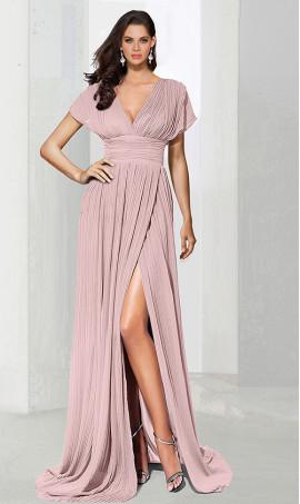 dramaticv neck empire waist high thigh slit short sleeve chiffon evening Dress Gown