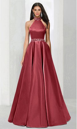 Chic classic jeweled halter high neck fitted bodice a line satin ball Dress Gown prom formal evening Dress Gown