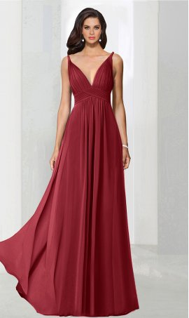 Flawless plunging v neck floor length chiffon bridesmaid prom formal evening Dress Gown