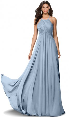 Flawless ruched halter high neck floor length chiffon bridesmaid prom formal evening Dress Gown