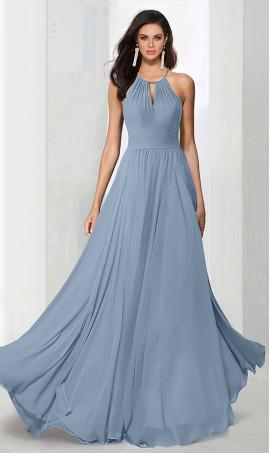 dramatichalter high neck floor length chiffon bridesmaid prom formal evening Dress Gown