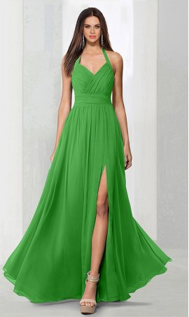 Chic elegent halter v neck ruched a line high thigh slit chiffon bridesmaid prom formal evening Dress Gown