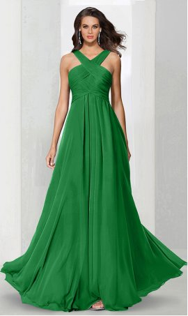 Flawless criss cross ruched halter neckline chiffon bridesmaid prom formal evening Dress Gown