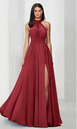 Chic flowy halter neckline high thigh slit chiffon bridesmaid prom formal evening Dress Gown