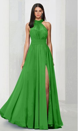 Chic flowy halter neckline high thigh slit chiffon bridesmaid prom formal evening Dress Gown