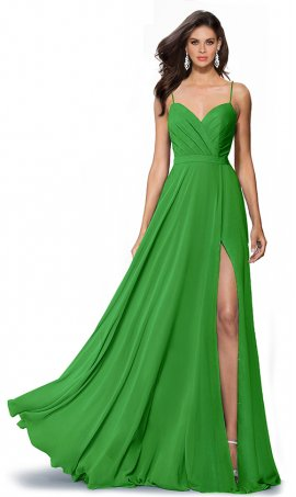 Flawless sweetheart spaghetti straps high thigh slit floor length chiffon bridesmaid prom formal evening Dress Gown