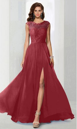 Flawless high neck lace top chiffon high thigh slit bridesmaid prom formal evening Dress Gown