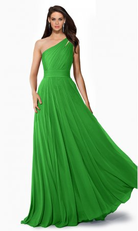 Chic flowing cut-out single one shoulder a line chiffon bridesmaid prom formal evening Dress Gown