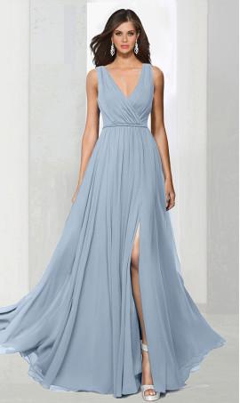 dramaticv neck floor length high thigh slit chiffon bridesmaid prom formal evening Dress Gown