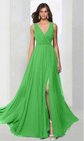 dramaticv neck floor length high thigh slit chiffon bridesmaid prom formal evening Dress Gown
