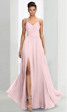 Flawless spaghetti straps v neck high thigh slit a line chiffon bridesmaid prom formal evening Dress Gown