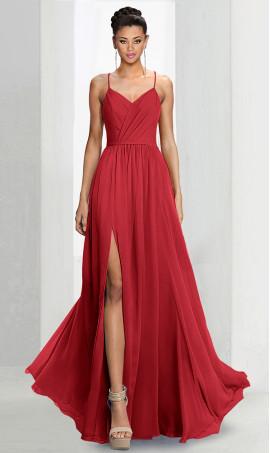 Flawless spaghetti straps v neck high thigh slit a line chiffon bridesmaid prom formal evening Dress Gown