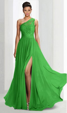 Flawless one shoulder lace top high length thigh slit chiffon bridesmaid prom formal evening Dress Gown