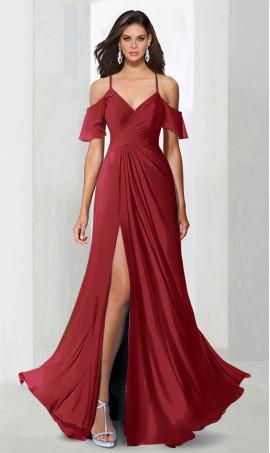dramaticoff the shoulder ruffle high thigh slit chiffon prom formal evening Dress Gown