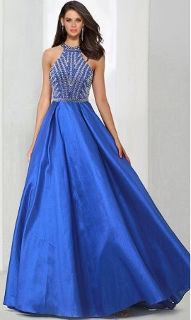 Flawless beaded halter high neck open back a line taffeta prom ball Dress Gown formal evening Dress Gown