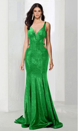 Sassy plunging v neck side cut-out open back floor length glitter mermaid prom formal evening Dress Gown