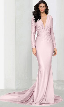 Chic plunging V neck long sleeve floor length mermaid prom formal evening Dress Gown
