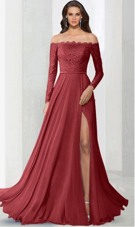 dramaticoff the shoulder lace bodice long sleeves floor length high thigh slit bridesmaid prom formal evening Dress Gown