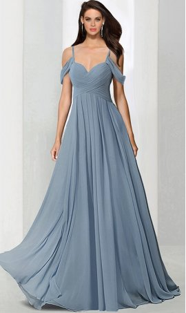 Chic pretty cold-shoulder floor length chiffon bridesmaid prom formal Dress Gown