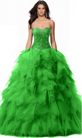Alluring beaded strapless sweetherat tired skirt floor length ball Dress Gown prom formal quinceanera Dress Gown