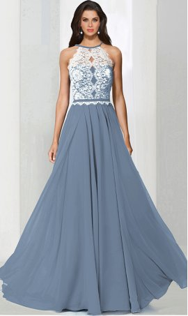 dramatichalter high neck lace chiffon bridesmaid prom formal evening Dress Gown