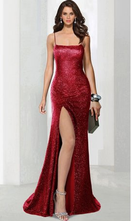 Chic metallic square neckline open back high thigh slit glitter prom formal evening Dress Gown