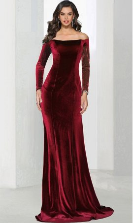 Chic stunning off the shoulder long sleeves floor length velvet prom formal evening Dress Gown
