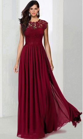 elegant lace bodice a line chiffon ball Dress Gown prom bridesmaid Dress Gown