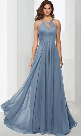 Chic classic keyhole high neck ruched a line chiffon bridesmaid prom formal evening Dress Gown