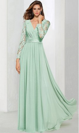 Chic captivating v neck lace long sleeves floor length chiffon bridesmaid prom formal evening Dress Gown