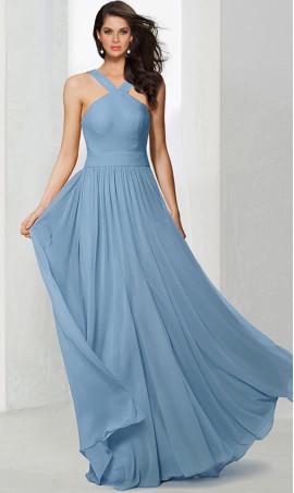 Chic classy halter high neck floor length chiffon bridesmaid prom formal evening Dress Gown