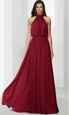 Flawless halter top blouson bodice a line chiffon bridesmaid evening Dress Gown