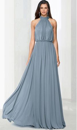 Flawless halter top blouson bodice a line chiffon bridesmaid evening Dress Gown