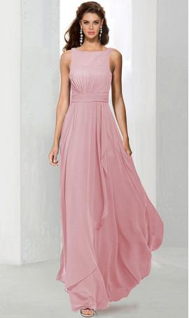 Flawless high scoop neckline chiffon bridesmaid prom formal evening Dress Gown