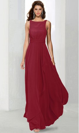 Flawless high scoop neckline chiffon bridesmaid prom formal evening Dress Gown
