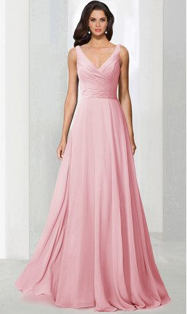 Chic classic ruched v neck a line chiffon bridesmaid prom formal evening Dress Gown