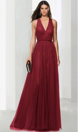 Chic stylish v neck a line tulle bridesmaid prom formal evening Dress Gown