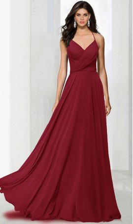 Chic classic hatler v-neck ruffle racer-back chiffon bridesmaid prom formal evening Dress Gown