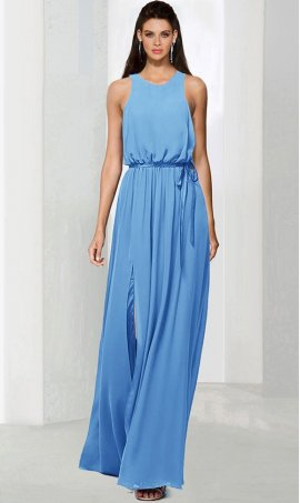 elegant high neck floor length front slit chiffon bridesmaid prom formal evening Dress Gown