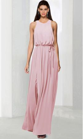 elegant high neck floor length front slit chiffon bridesmaid prom formal evening Dress Gown