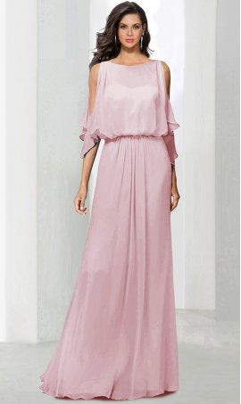 Flawless cold shoulder flutter sleeve floor length chiffon bridesmaid formal evening Dress Gown