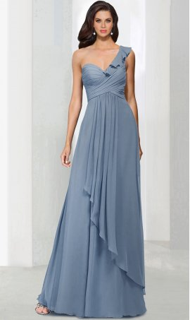 Chic marvelous single one shoulder ruffled one shoulder chiffon bridesmaid prom formal evening Dress Gown